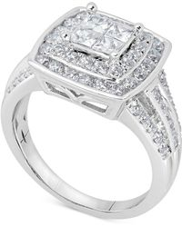 Macy's - Diamond Two-tone Engagement Ring (1-1/2 Ct. T.w.) In 14k White Gold - Lyst