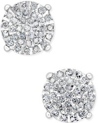 Macy's - Diamond Cluster Stud Earrings (1/2 Ct. T.w.) In Sterling Silver - Lyst