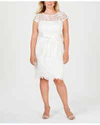 Adrianna Papell - Plus Size Illusion Corded Lace Dress - Lyst