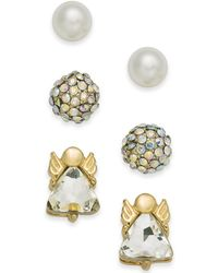 Charter Club - Gold-tone 3-pc. Set Angel Crystal Ball & Imitation Pearl Stud Earrings, Created For Macy's - Lyst