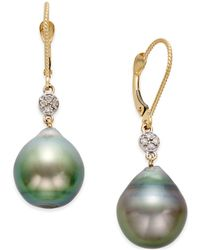 Macy's - Cultured Tahitian Pearl (12mm) And Diamond Accent Earrings In 14k Gold - Lyst