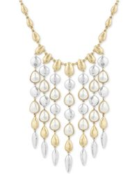 "Lucky Brand - Two-tone Imitation Pearl Statement Necklace, 16"" + 2"" Extender - Lyst"