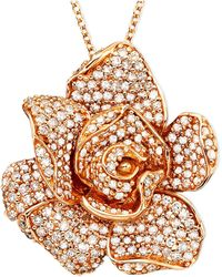 Effy Collection - Pavé Rose By Effy Diamond Flower Pendant Necklace In 14k Rose Gold (1 1/3 Ct. T.w.) - Lyst