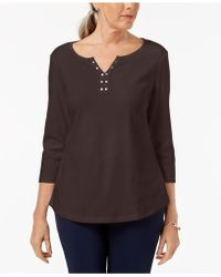 Karen Scott - Cotton Stud-embellished Top, Created For Macy's - Lyst