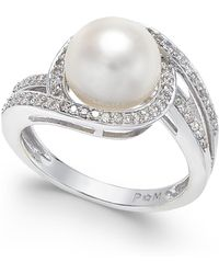 Macy's - White Cultured Freshwater Pearl (9mm) And Diamond (1/3 Ct. T.w.) Swirl Ring In 14k White Gold - Lyst