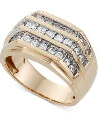 Macy's - Men's Three Row Diamond Ring (1 Ct. T.w.) In 10k Gold - Lyst