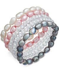 Macy's - 5-pc. Set White, Pink & Gray Cultured Freshwater Baroque Pearl (7mm) And Rondel Crystal Stretch Bracelets - Lyst