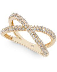Macy's - Diamond Crisscross Ring (1/2 Ct. T.w.) In 14k Gold - Lyst