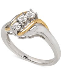 Macy's - Diamond Accent Ring In 14k Gold And Sterling Silver - Lyst