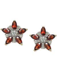 Macy's - Rhodolite Garnet (1-1/3 Ct. T.w.) & Diamond (1/5 Ct. T.w.) Star Stud Earrings In 14k Gold - Lyst