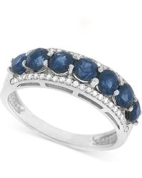 Macy's - Sapphire (1-3/8 Ct. T.w.) And Diamond (1/8 Ct. T.w.) Ring In 14k White Gold - Lyst
