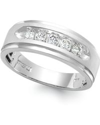 Macy's - Men's Five-stone Diamond Ring In 10k White Gold (1/4 Ct. T.w.) - Lyst