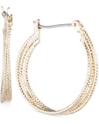 Nine West | Multi-row Textured Hoop Earrings | Lyst