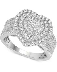 Macy's - Diamond Heart Ring (1 Ct. T.w.) In 14k White Gold - Lyst