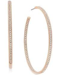 Danori - Rose Gold-tone Inside Out Pavé Hoop Earrings - Lyst