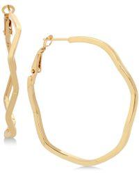 Hint Of Gold - Wavy Hoop Earrings In Gold-plate - Lyst