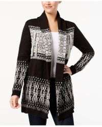 Style & Co. - Patterned Fringe Cardigan - Lyst