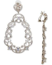 Nina - Cubic Zirconia Scroll Motif Clip-on Drop Earrings - Lyst
