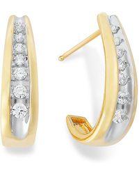 Macy's - Channel-set Diamond J Hoop Earrings In 14k Gold (1/4 Ct. T.w.) - Lyst