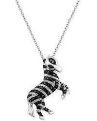 Effy Collection - Diamond Zebra Pendant Necklace (1/2 Ct. T.w.) In 14k White Gold - Lyst