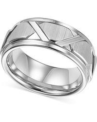 Triton | Men's White Tungsten Ring, Bright Cuts Wedding Band | Lyst