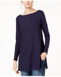 Eileen Fisher - Stretch Jersey Boat-neck Top, Created For Macy's - Lyst
