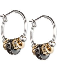 Nine West - Tri-tone Slider Hoop Earrings - Lyst