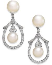 Arabella - Cultured Freshwater Pearl And Swarovski Zirconia Drop Earrings In Sterling Silver (5 & 6mm) - Lyst