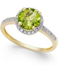Macy's | Peridot (1-1/3 Ct. T.w.) And. Diamond (1/8 Ct. T.w.) Ring In 14k Gold | Lyst