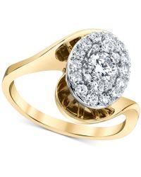 Macy's - Diamond Halo Twist Ring (3/4 Ct. T.w.) In 14k Gold & White Gold - Lyst