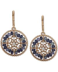 Lonna & Lilly - Gold-tone Crystal & Bead Openwork Drop Earrings - Lyst