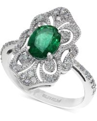 Effy Collection - Emerald (1-1/8 Ct. T.w.) And Diamond (1/3 Ct. T.w.) Ring In 14k White Gold - Lyst