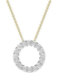 Macy's - Diamond Circle Miracle Plate Pendant Necklace (1/10 Ct. T.w.) In Sterling Silver - Lyst