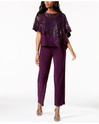 R & M Richards - Petite Sequined Lace Pantsuit - Lyst