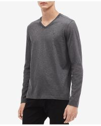 7f3eb2521e6a Calvin Klein Long Sleeve Crew Neck Graphic Shirt in Black for Men - Lyst