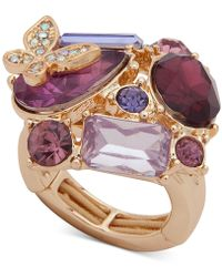 Anne Klein - Gold-tone Crystal Cluster Butterfly Stretch Ring - Lyst
