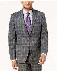 Sean John - Men's Slim-fit Gray Windowpane Suit Jacket - Lyst