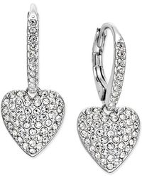 Danori - Silver-tone Pavé Heart Drop Earrings - Lyst