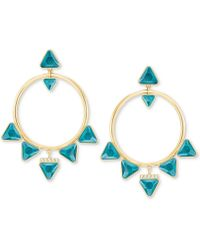 """Swarovski - Gold-tone Crystal Drop 1-7/8"""" Hoop Earrings - Lyst"""