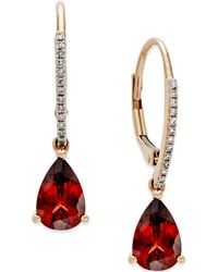 Macy's - Garnet (2-1/2 Ct. T.w.) And Diamond Accent Drop Earrings In 14k Rose Gold - Lyst