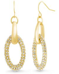 Catherine Malandrino - Pave Interlocked Oval Yellow Gold-tone Hoop Earrings - Lyst