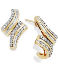 Wrapped in Love - Diamond Twist Hoop Earrings In 10k Gold (1/2 Ct. T.w.) - Lyst