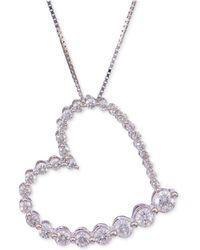 Macy's - Diamond Journey Heart Pendant Necklace (3/4 Ct. T.w.) In 14k White Gold - Lyst
