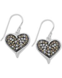 Macy's - Marcasite & Crystal Filigree Heart Drop Earrings In Fine Silver Plate - Lyst