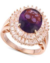 Macy's - Cubic Zirconia Simulated Amethyst Baguette Statement Ring In 14k Rose Gold-plated Sterling Silver - Lyst