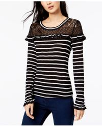Maison Jules - Striped Lace Ruffle Top, Created For Macy's - Lyst