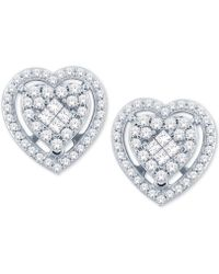 Macy's - Diamond Heart Cluster Stud Earrings (1/2 Ct. T.w.) In 14k White Gold - Lyst