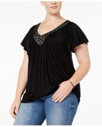 6a7783854da4b4 Soprano Plus Size Cold-shoulder Handkerchief Top in Pink