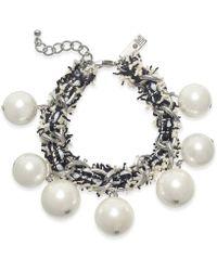 INC International Concepts - I.n.c. Silver-tone Imitation Pearl Fabric-weaved Flex Bracelet, Created For Macy's - Lyst
