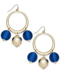 "INC International Concepts - I.n.c. Extra Large 2.5"" Gold-tone Wrapped Ball Drop Hoop Earrings, Created For Macy's - Lyst"